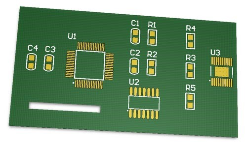 standard printed circuit board with a slot or cutout made within the PCB